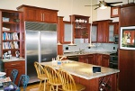 Kitchen Cherry flat panel cabinets, Granite countertops